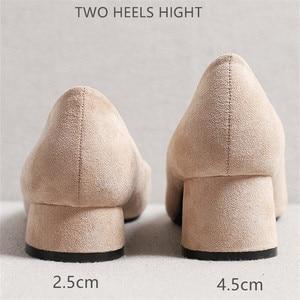 Image 5 - Frauen Schuhe 2020 Schwarz Slip Auf Platz High Heels Flock Punkt Toe Low Heels Weibliche Schuhe Büro Damen Frau Pumpen 2020 herbst