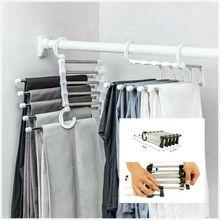 Прямая поставка 5 в 1 многофункциональная полка для брюк безопаснее пространство из нержавеющей стали Волшебные вешалки для одежды