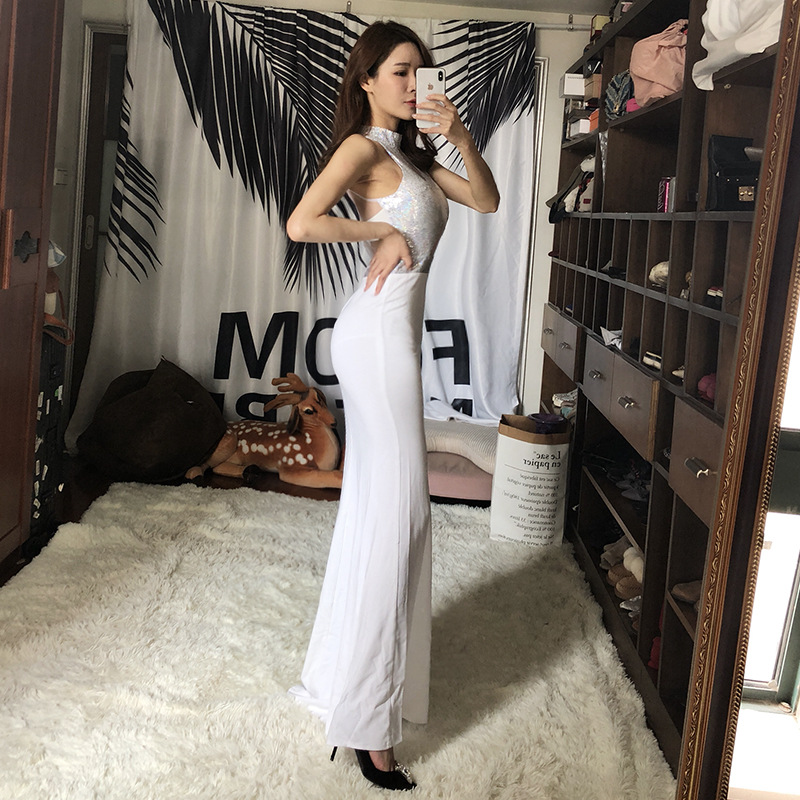 Sexy Banquet Late Formal Dress Women's 2018 New Style Gauze Transparent Debutante Slim Fit Nightclub Formal Dress Car Model Long