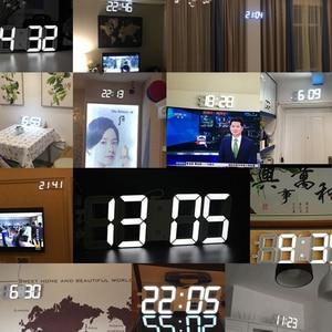 Image 3 - 3D 大型 Led デジタル壁時計日付時間摂氏常夜灯表示テーブルデスクトップ時計アラーム用のリビングルーム
