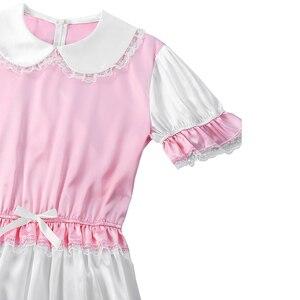 Image 4 - เกย์ Sissy กางเกง Romper Silky ซาตินตุ๊กตาคอสั้นพัฟแขนตัดลูกไม้ Romper เด็กผู้ใหญ่ CROSS Dresser เครื่องแต่งกาย