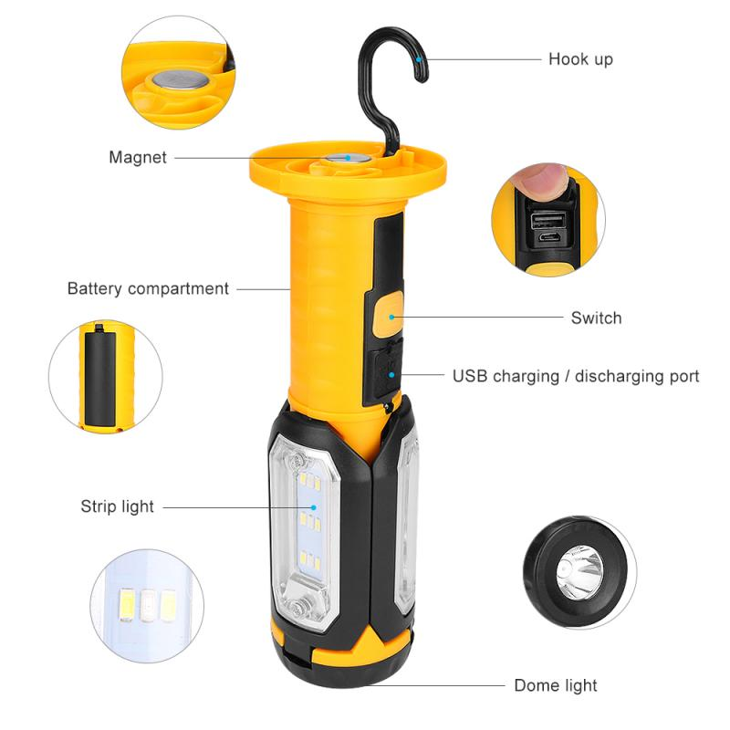 LED COB Work Light USB Rechargeable Magnetic Inspection Lamp Outdoor Inspection Lamp Hand Torch Foldable Working Light US UK EU