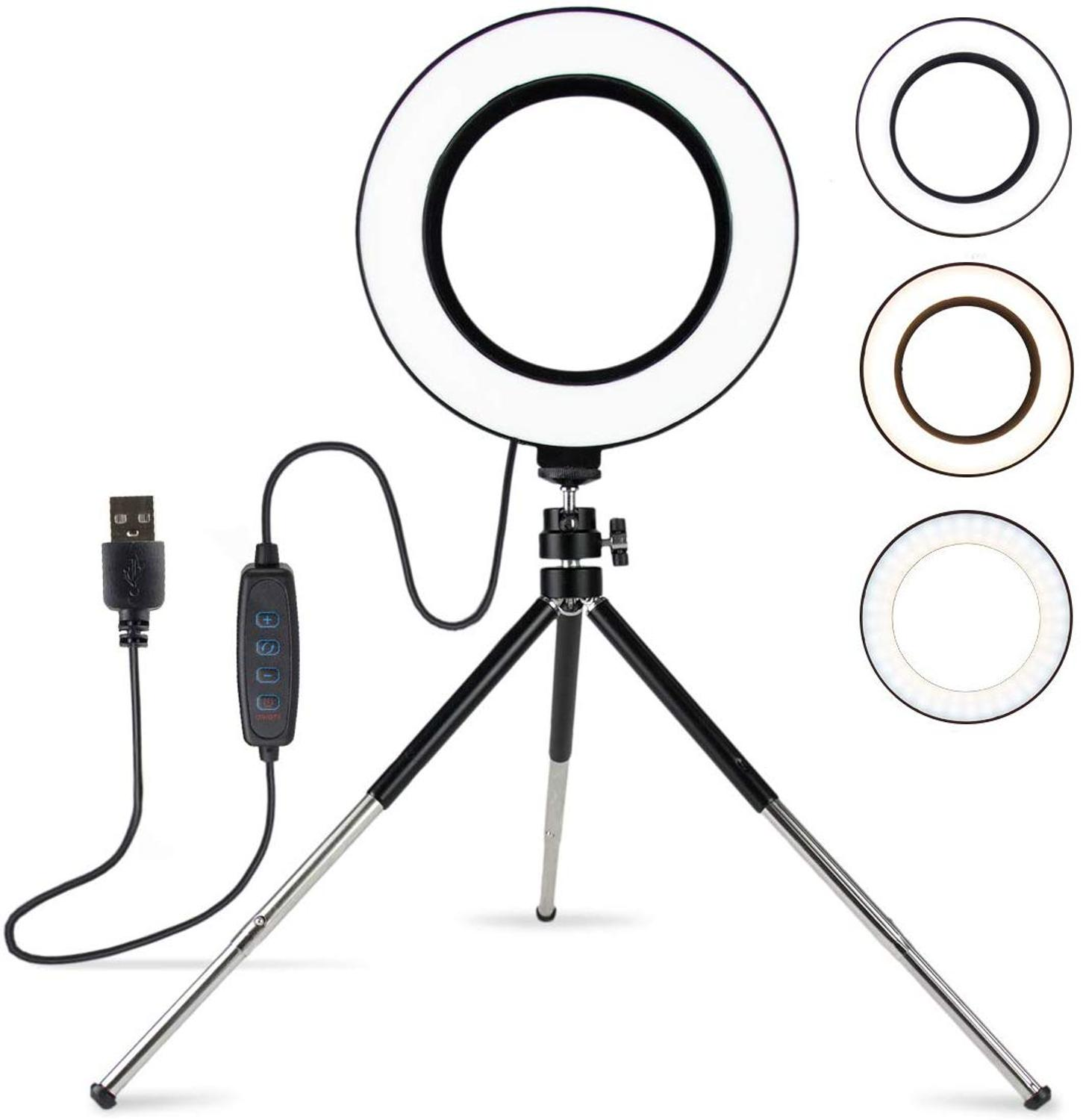 Zayex 6inch Mini LED Desktop Ring Light Photo Phone Video Light Lamp With Tripods For YouTube  Live Photo Photography Studio