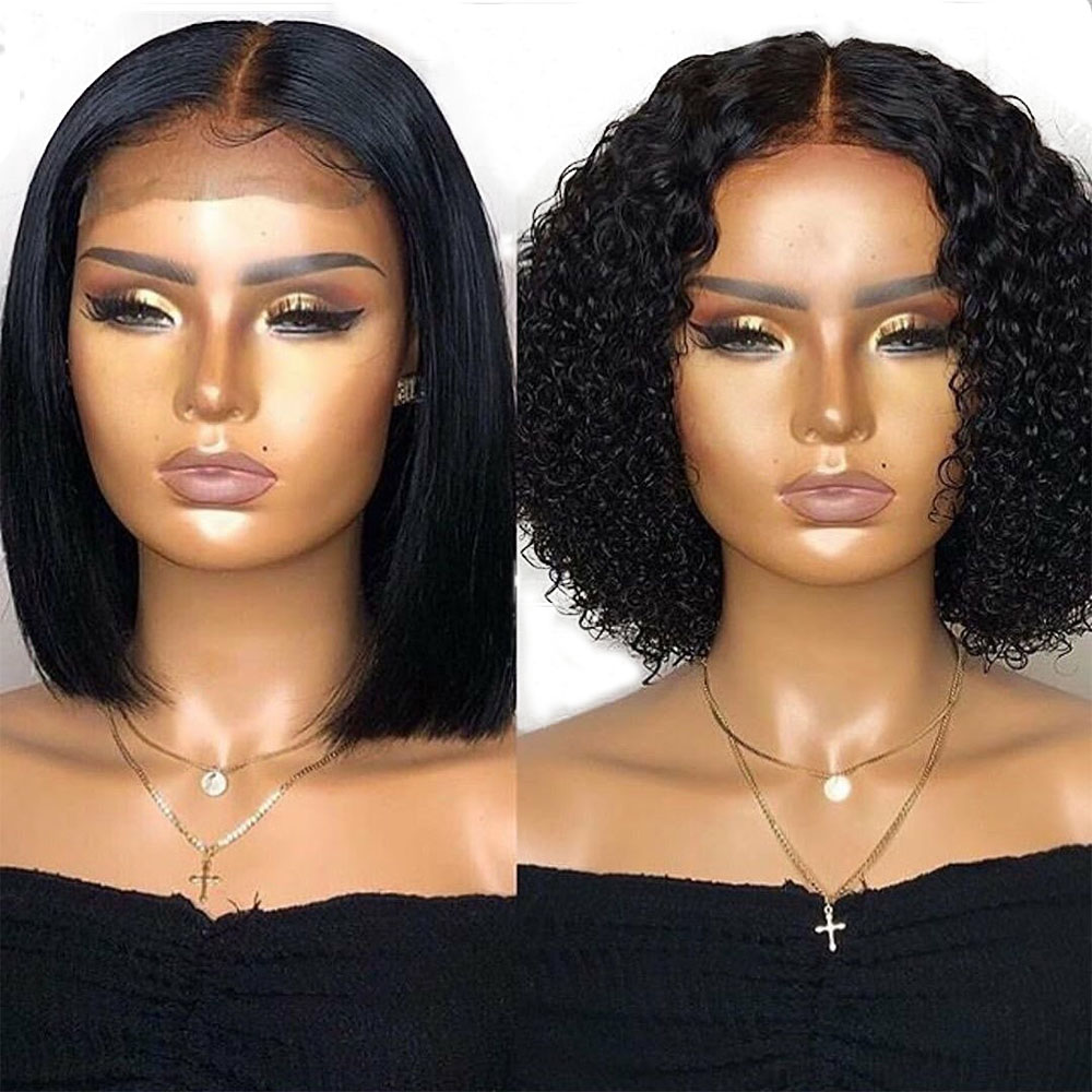 Eversilky Curly 13x4 Lace Front Wig Short Bob Cut Straight Wig Human Hair PrePlucked With Baby Hair Brazilian Remy Natural Color