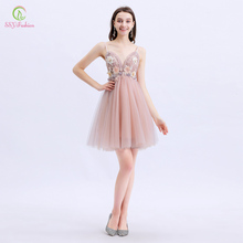 SSYFashion New Cocktail Dresses Sweet Pink V-neck Knee-length Lace Flower with Sequins Beading Party Formal Gowns Robe De Soiree