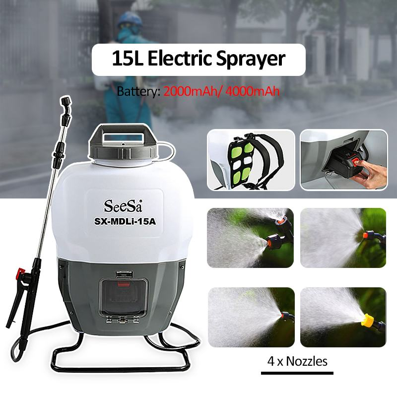 15L 2Ah/4Ah Lithium Battery Portable Knapsack Electric Pump Sprayer Disinfection Ulv Fogger Mosquito Killer Spraying Cold Fogger
