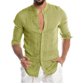 Men's New Summer Casual Cotton Linen Long Sleeve Button Down Shirt For Man Casual Shirts Cotton Shirts Dress Shirts Long Sleeve Men Print Shirts Shirts & Tops Slim Fit Summer Shirts T-Shirts Color: Green Size: European Size L