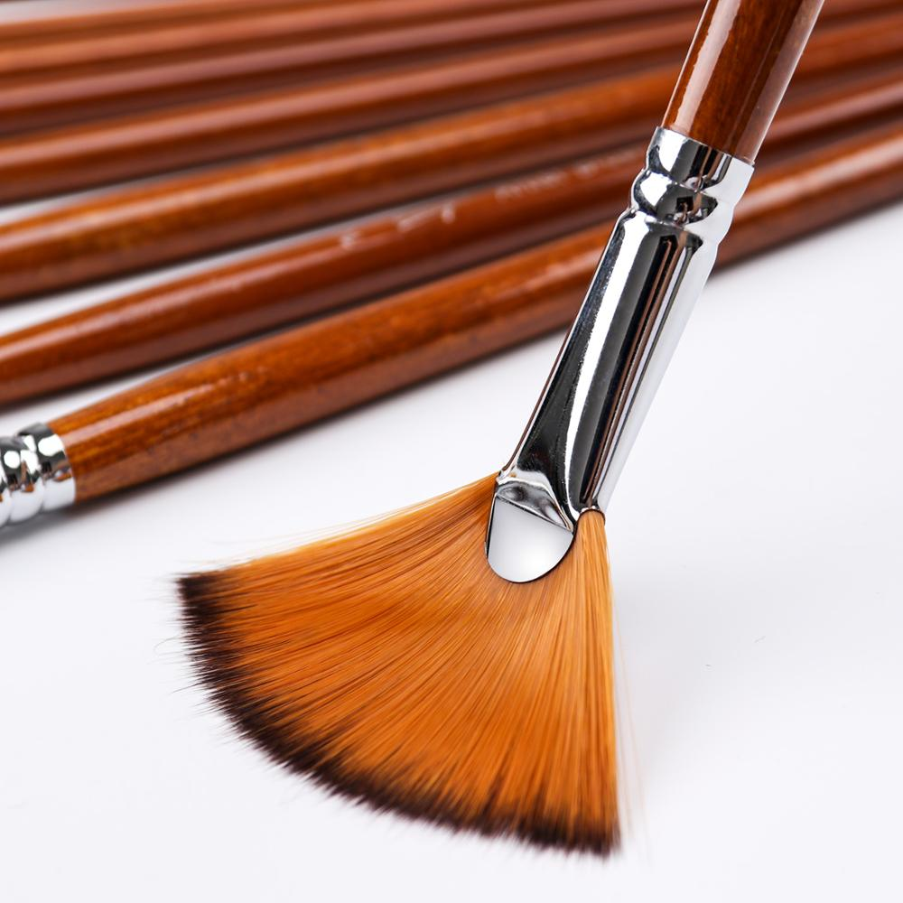 9Pcs Fan Shape Brush Painting Pen Set Nylon Acrylic Hair Watercolor Art Supplies