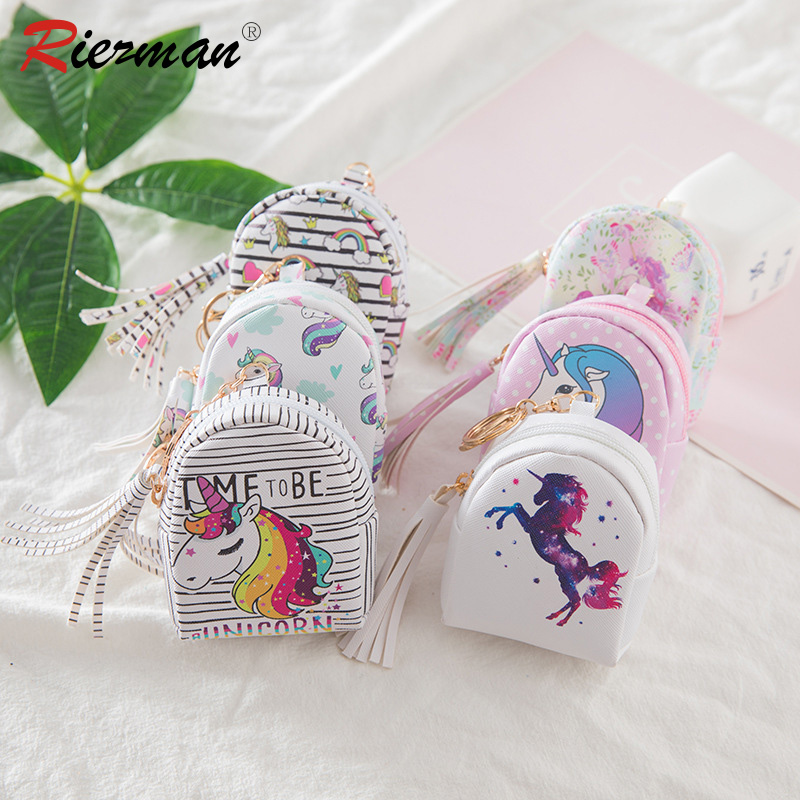 RIEZMAN Cartoon Unicorn Coin Purses Women Wallets Small Cute Kawaii Card Holder Key Money Bags For Children Girls Purse Gifts
