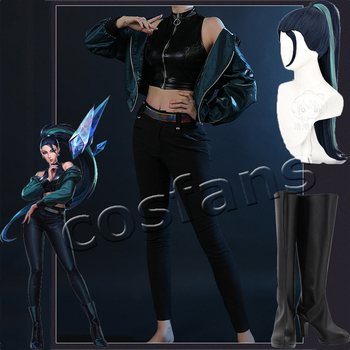 LOL KDA Baddest Kaisa Cosplay Costume LOL KDA Cosplay Game Sexy Costumes Kaisa Jacket Vest Tight Pants Women Halloween Party image