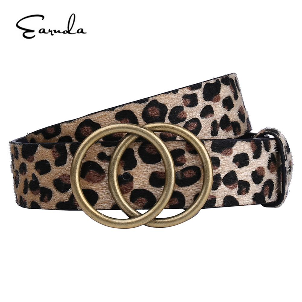 Earnda Womens Fashion Belt Leopard Belts Double Buckle PU Leather Strap For Dress High Waist