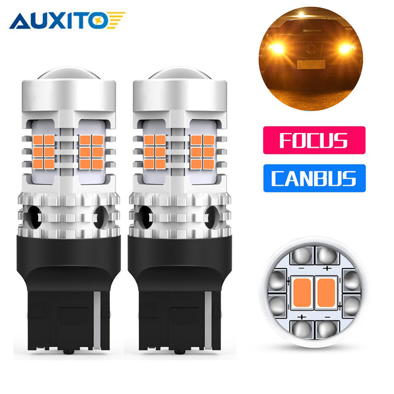 2x T20 W21W WY21W 7440 7440NA <font><b>LED</b></font> Blinker Glühbirnen Canbus Fehlerfrei Kein Hyper Flash-Auto <font><b>Led</b></font> Lampe 12V Bernstein Gelb image