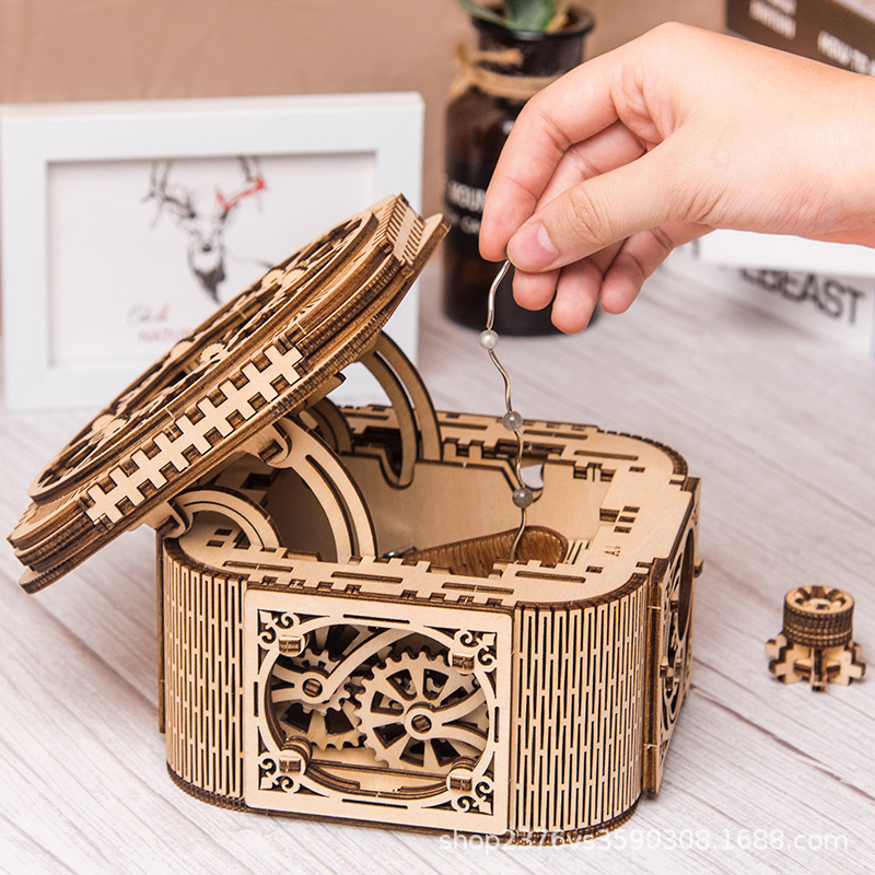 Wooden Jewelry Box Assembled Creative Toy Gift Puzzle Wooden Mechanical Transmission Model Assembled Toy DIY Kids Gifts