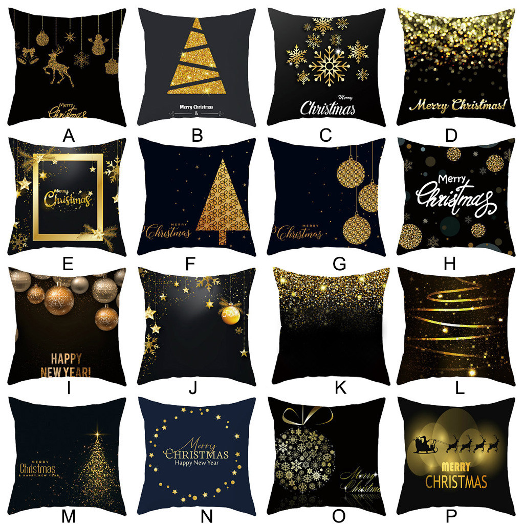 Merry Christmas Pillow Cases 45cm*45cm Retro Cotton Linen Home Cushioncover Warm Chair PillowCases for Bedroom