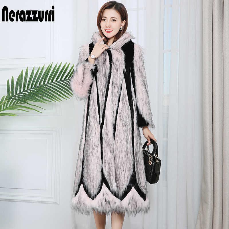 Nerazzurri 滑走路 2020 パッチワークフェイク毛皮のコートピンクロング冬の女性のファッションコートプラスサイズのカラーブロック生き抜く xl xxl xxxl 4xl 5xl 6xl 7xl