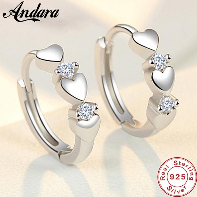 Fashion 925 Sterling Silver Earrings Heart Zircon Small Earrings For Women Jewelry Gifts 1