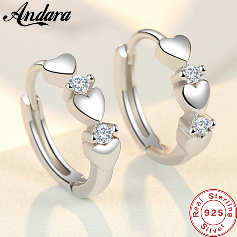 Fashion 925 Sterling Silver Earrings Heart Zircon Small Earrings For Women Jewelry Gifts