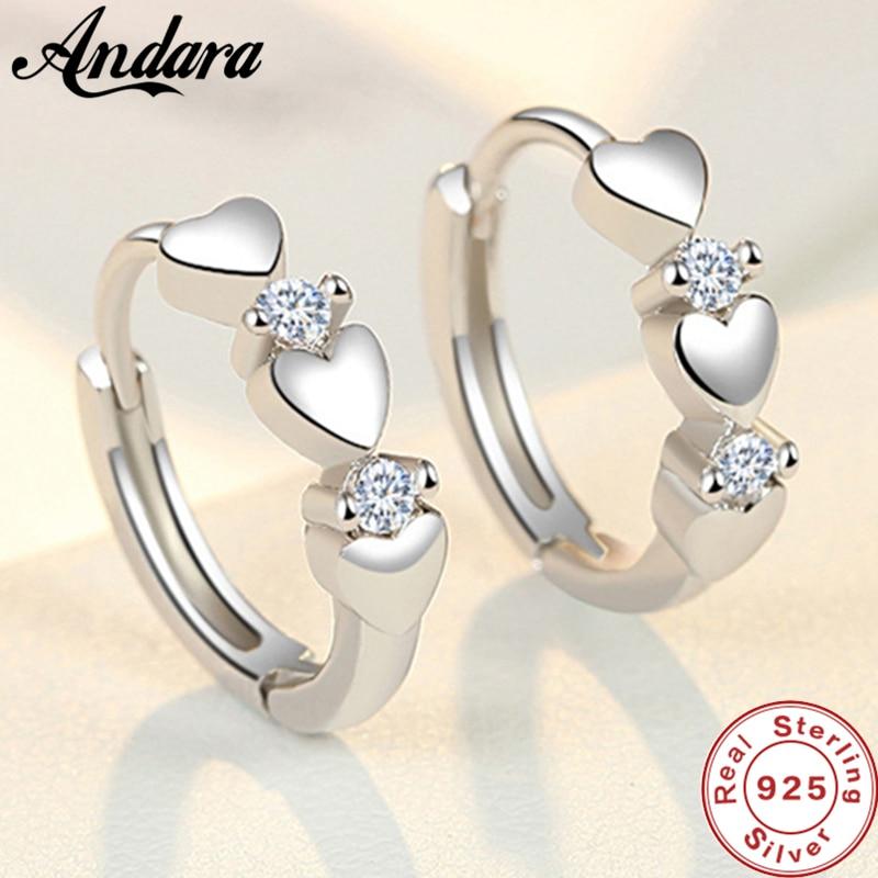Fashion 925 Sterling Silver Earrings Heart Zircon Small Earrings For Women Jewelry Gifts