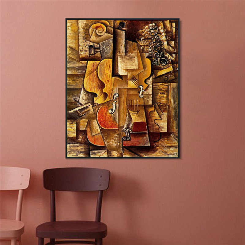 Violon et rai by Picasso Violin Posters And Prints Wall Art Abstract Oil painting Modular Painting Modern Home Decor Canvas Arts