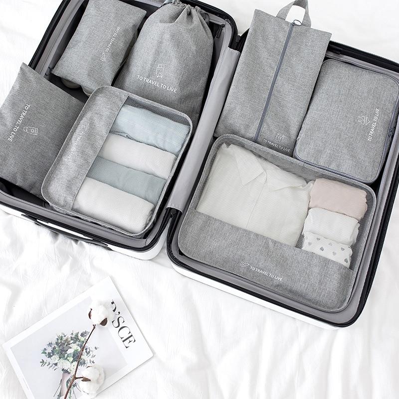 Новый дорожный набор 7 шт./компл., дорожная сумка, органайзер, чемодан для багажа, упаковочный куб 2021, сумка для хранения обуви, набор для путе...