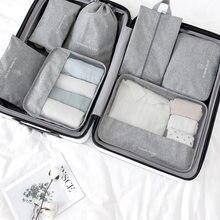Novo conjunto de viagem 7 pçs/set saco de viagem organizador mala embalagem cubo 2021 sapato vestir sacos de armazenamento para viajar bolsa kit