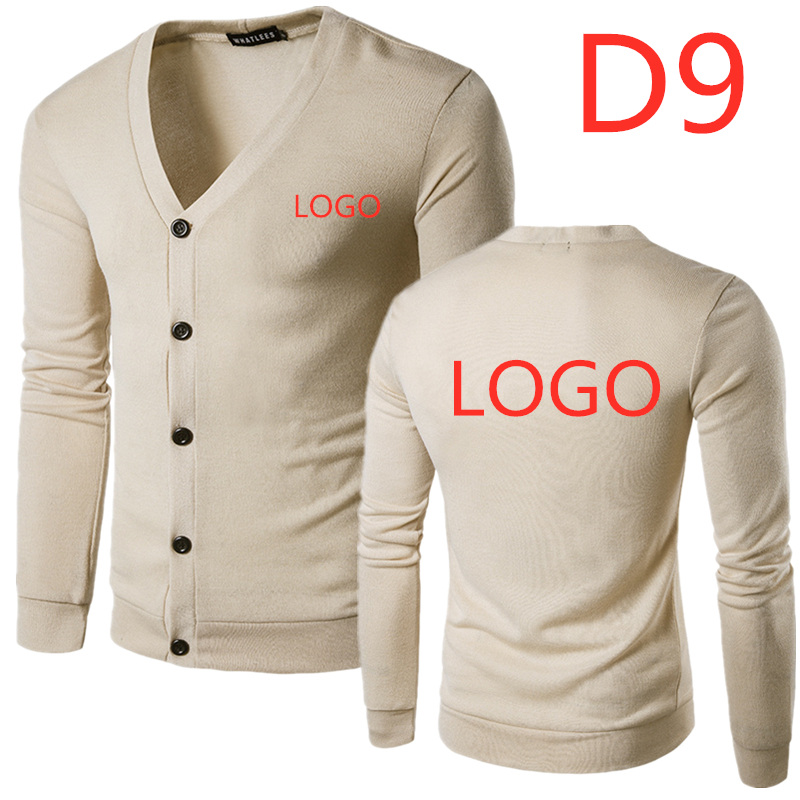 D9 New Style Mens Printed Turn Down Collar Button Up Cardigan Autumn Casual Knitted Sweaters Solid Male Outwear Tops Sweatercoat