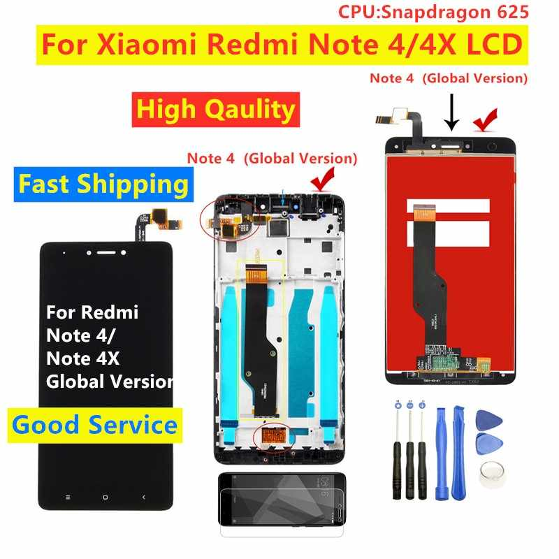 Voor Redmi Note 4X Display Snapdragon 625 Voor Xiaomi Redmi Note 4X Note 4 Lcd Touch Screen Digitizer Vergadering met Frame
