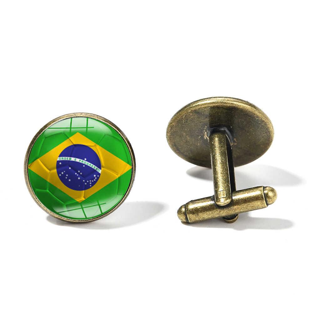 SONGDA Brasil, Colombia, México, España, bandera para hombre, mancuerna, bandera del país mundial, fútbol, cúpula de cristal impresa, gemelos para aficionados al fútbol