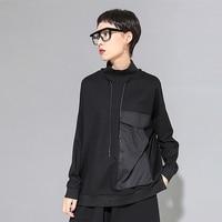 2019 autumn winter korean fashion patchwork tshirt women patch pockets turtleneck long sleeve loose casual streetwear tide tops