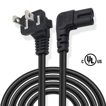 FUHAIHE Universal 2 Prong Angle Power Cord 6ft NEMA 1-15P to IEC320 C7 Figure 8 Connector AC Power Supply Cable Wire