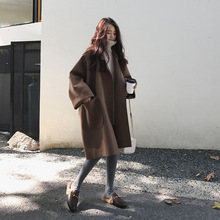 Abrigos de invierno a la moda para mujer abrigo de lana coreano de un solo botón para mujer
