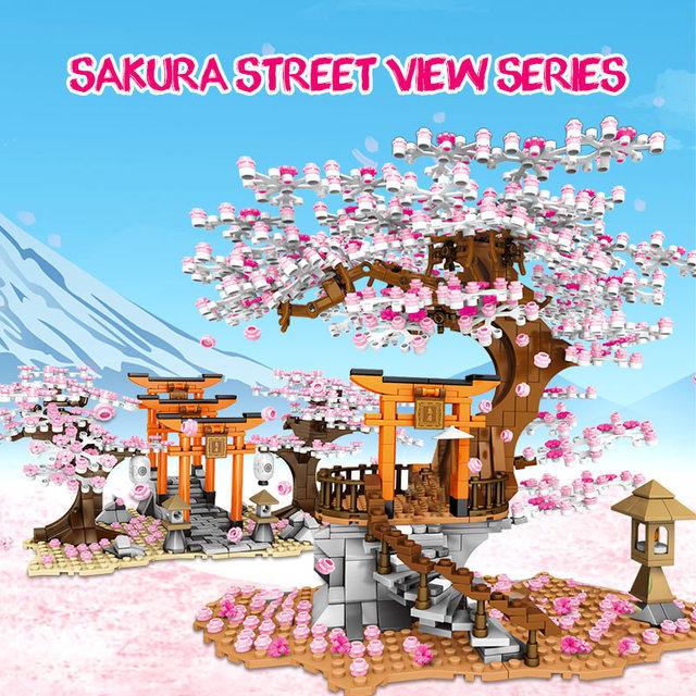 City Street View Idea Sakura Stall Inari Shrine Bricks Friends DIY Cherry Blossom Landscape House Building Block Toys for Girls