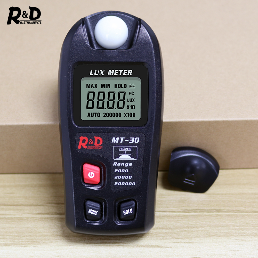 R&D MT30 Black Lux Meter 0~200,000lux Light Meter Pocket Design Illuminometer Lux/fc Photometer Tester Enviromental Testing