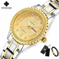 Fashion WWOOR Gold Women Watches Waterproof Ladies Watch Stainless Steel Casual Dress Woman Quartz Bracelet Watch Reloj Mujer