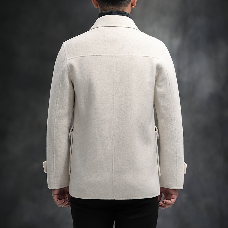Wool Coat Men Spring Autumn Korean Wool Jacket White Short Handmade Mens Overcoat Coats For Men Erkek Kaban 012 KJ3860