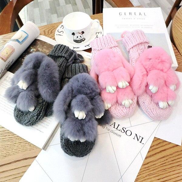 SP&CITY Lovely Rabbit Women's Winter Gloves Cute Knitting Thickening Mittens Women's Winter White Neck Gloves Woman Keep Warm
