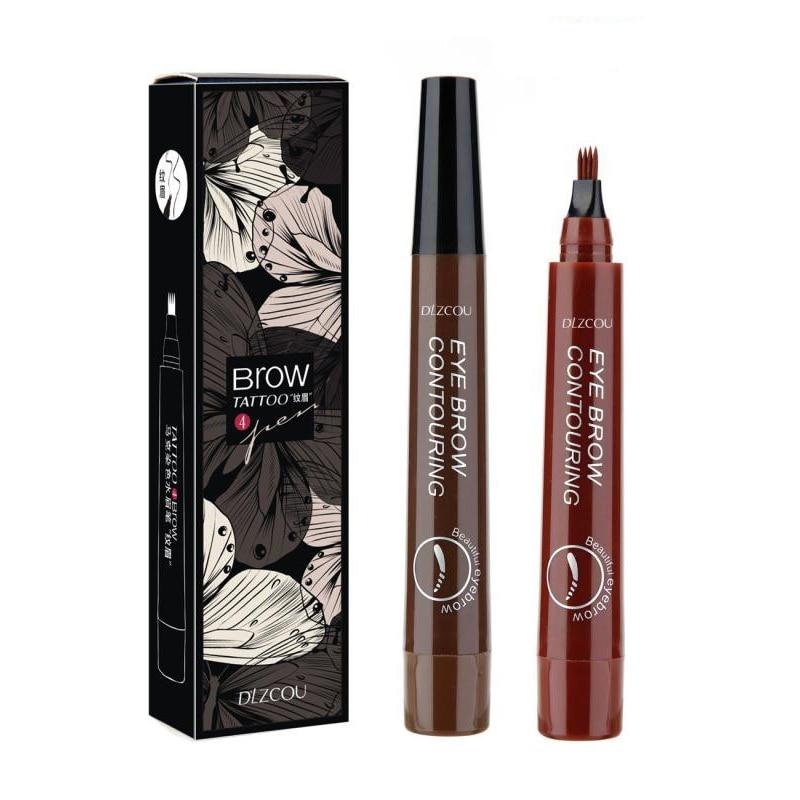 2019 Long Lasting Fine Sketch Liquid Eye Brow Pencil 4 Color Eyebrow Pen Waterproof Fork Tip Eyebrow Tattoo Pencil