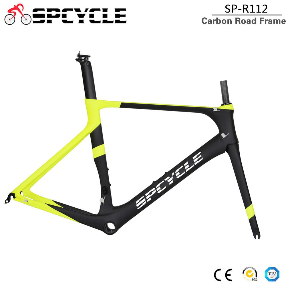 Spcycle T1000 Full Carbon Fiber Road Bicycle Frames , Aero Racing Road Carbon Bicycle Framesets BB86 505/530/560mm