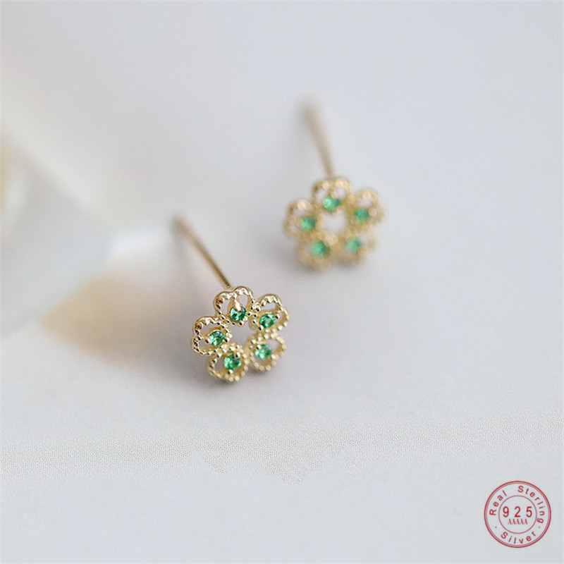 925 Sterling Silver French Simple Pavé Green Crystal Flower Stud Earrings Women Trend Charm Wedding Party Jewelry Gift
