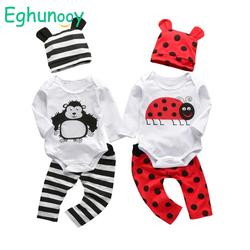 Newborn Infant Baby Boy Clothes Cotton Long Sleeve Cartoon Ladybug and Orangutan Print Romper Casual Pant Hat 3Pcs Outfits Set