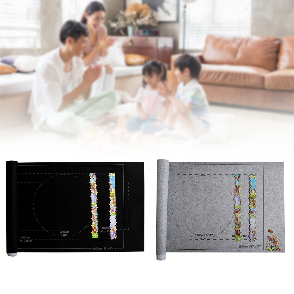 Storage Accessories Floor Hold 1500 Pieces Saver Jigsaw Felt Mat Solid Roll Up Storing Home Blanket Large 26x46 Inch Playmat