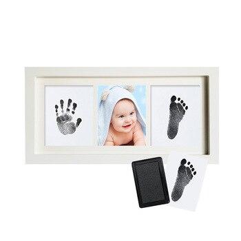 Dla dzieci znak klasyczny nadruk rama drewniana ramka na zdjęcia z ręcznie footprintów odcisk zestaw dla dzieci odcisk atramentowy nowonarodzone dziecko z pamiątkami