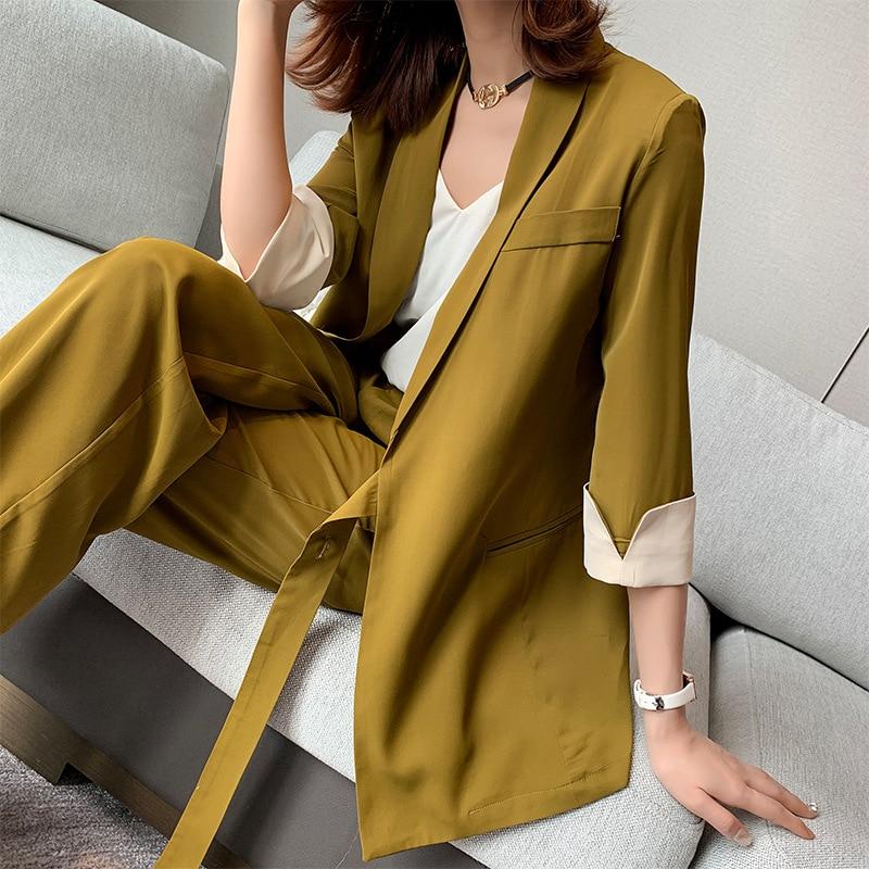 2020 New Summer Spring Women Lace Up Pant Suit Notched Blazer Jacket & Wide Leg Pant Office Wear Suits Female Sets Plus Size 5XL