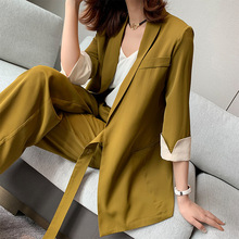 2020 New Summer Spring Women Lace Up Pant Suit Notched Blazer