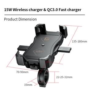 Image 5 - Держатель для телефона мотоцикла 15 Вт беспроводное умное зарядное устройство QC3.0 провод Charing 2 в 1 полуавтоматическая подставка 360 градусов вращающийся кронштейн