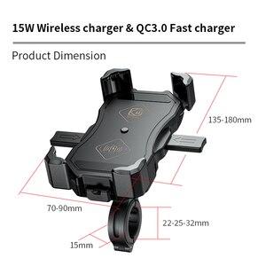 Image 5 - 오토바이 핸드폰 홀더, 15W 무선 스마트 충전, QC3.0 와이어 중전, 2 in 1 반자동 스탠드 360도 회전 브래킷