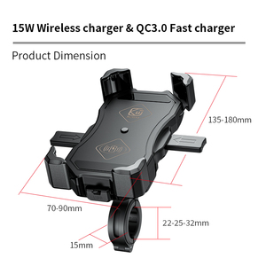 Image 5 - Motorcycle Phone Holder 15W Wireless Smart Charger QC3.0 Wire Charing 2 in 1 Semiautomatic Stand 360 Degree Rotation Bracket