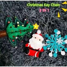 2019New Santa Claus Felt Key Chain DIY Craft Kit Christmas Tree Snowflake Handmade Sewing Cloth Toys Ring Pendant Gift