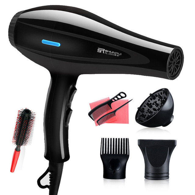 220V Hair Dryer Blow Air with Concentrator Nozzles Diffuser Comb Brush Salon Household Hairdryer Blower Hair Styling Tool D35