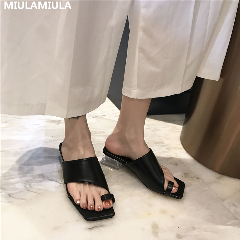 MIULAMIULA Brand Designers 2020 Summer New Luxury Square Toe Transparent Heels Good Leather Lady Pumps Mules Flip Flops Outside